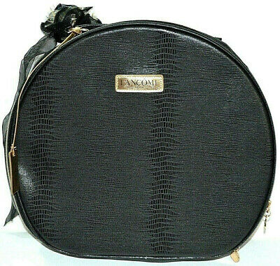 Lancome Large Makeup Bag Cosmetic Box Train Case Round Travel Tote Toiletry