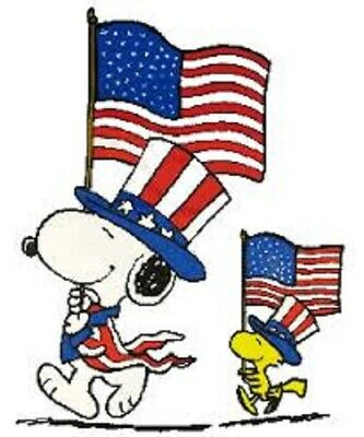 48 SNOOPY PATRIOTIC 4TH OF JULY STICKER LABEL ENVELOPE SEALS 1-2 ROUND