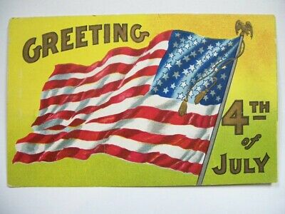 Greetings Fourth Of July Flag Eagle Embossed Postcard-  Very Good Condition NR