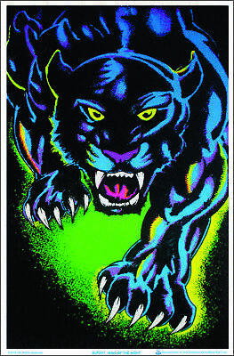 King of The Night Panther Black Cat Blacklight Poster - Flocked - 23 x 35
