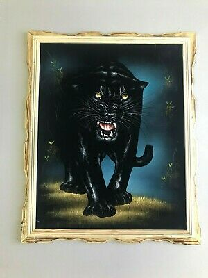 BLACK PANTHER   Hand Painted  VELVET PAINTING  18 BY 22 W  FRAMED