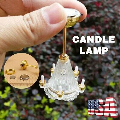 112 Dollhouse Miniature LED 5 Candles Chandelier Light Lamp w Battery Operated
