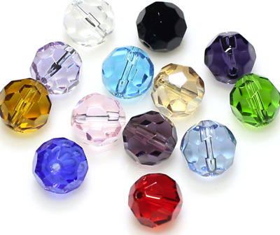 Wholesale 100pcs 4mm Multicolor Round Faceted crystal glass Loose Spacer