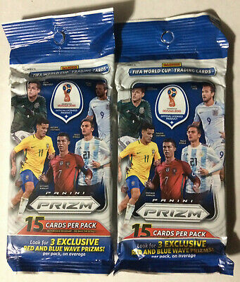 2018 World Cup Panini Prizm Fat Pack Lot of 2 Sealed Packs 30 Cards Soccer RWB