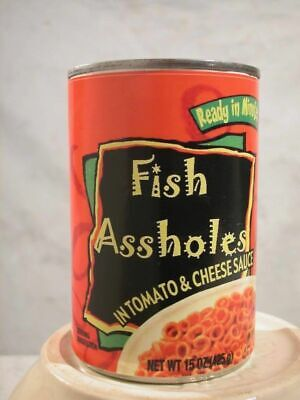 Gag Label - Canned Fish Ass Holes - Funny Christmas Stocking Stuffer Gag Gift