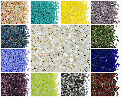 CHOOSE COLOR 10g Half Tila Beads 5x2-3x1-9 mm 2 Holes Miyuki Japanese Beads