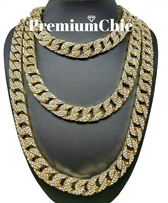 ICED Miami Cuban Choker Link Chain Mens Hip Hop Necklace Gold  Silver Plated