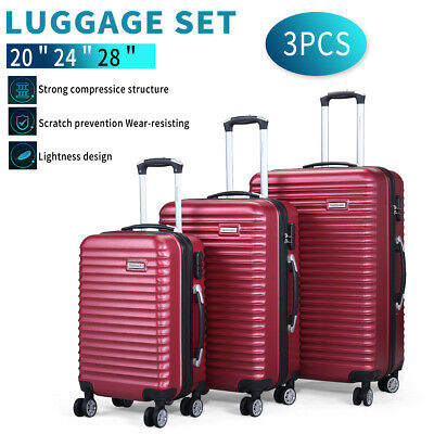 3 Piece Luggage Set Hardside ABS-PC Carry On Bag Travel Trolley Suitcase Spinner