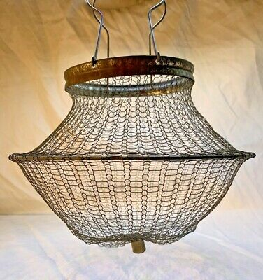 Antique Rustic Farm Wire Mesh Collapsible Egg Gathering Basket