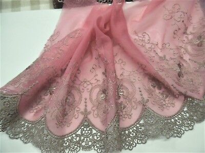 EMBROIDERED SOFT NETTINGVICTORIAN LOOKTAUPEDUSTY PINK7 x 36DOLLs