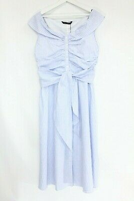 Zara Striped Midi Dress sz XXL Blogger Favorite Kate Middleton NEW blue royal
