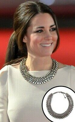 Rare ZARA Crystal Rhinestone Statement Necklace Worn By Princess Kate Middleton