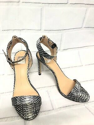 Dolce Vita Black White Snakeskin Embossed Leather Strappy Heel Sandals Size 8-5
