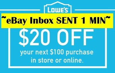 Two 2x Lowes 20 OFF 100Coupons-Online- Instore -Very-FAST-SENT-