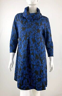 New With Tags Tyler Boe Kim Cowl Neck Dress Size L Black Blue Floral 73209J