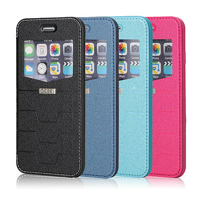 For Apple iPhone 6S 6S Plus PU Leather Window Front-View Stand Wallet Case