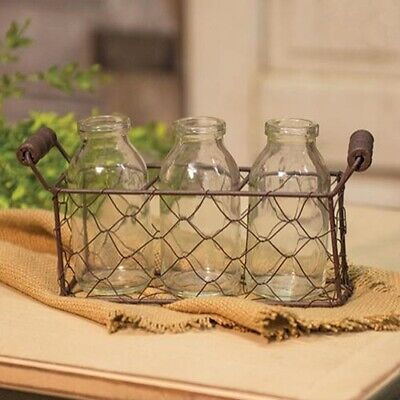 Farmhouse Glass Creamer Bottles in Wire Basket Primitive Country