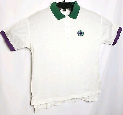 Wimbledon The Championships Men's White Short Sleeve Polo Shirt L