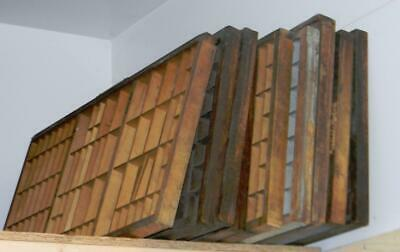 Letterpress Antique Printers Type Case Wood Drawer Shadowbox Display Shelf CAblk