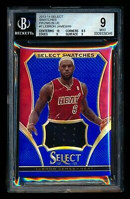 2013-14 PANINI SELECT LEBRON JAMES SWATCHES BLUE PRIZM JERSEY 4149 BGS 9 MINT