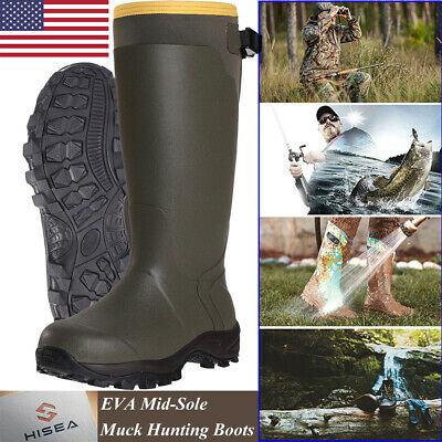 HISEA Mens Muck Hunting Work Boots Waterproof Breathable Rubber Snow Rain Boots