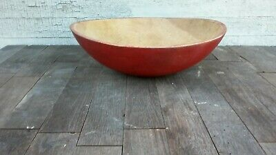 SWEET OLD PAINTED DARK RED WOOD BOWL OUT OF ROUND 13 INCH AAFA