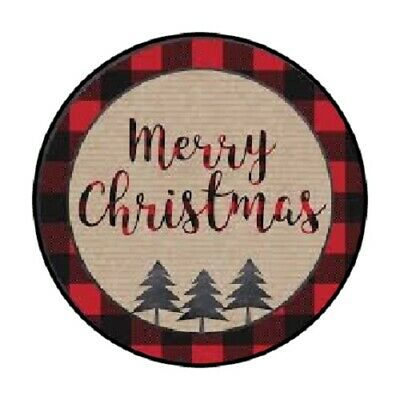 48 MERRY CHRISTMAS BUFFALO PLAID STICKER LABEL ENVELOPE SEALS 1-2 ROUND