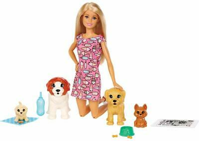 Barbie Doggy Daycare Doll Blonde 4 Pets Brown White Accessories Easy Activation