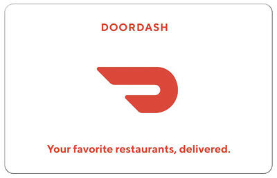 DoorDash Gift Card - 25 50 or 100 - Fast Email delivery