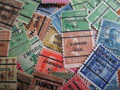 HENRYS STAMPS-25 DIFFERENT U-S- PRECANCELS-GREAT VALUE - FREE SHIPPING TO U-S