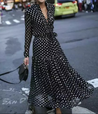 Kate Middleton Style Black - White Polka Dot Tea Dress Midi Length Long Sleeve