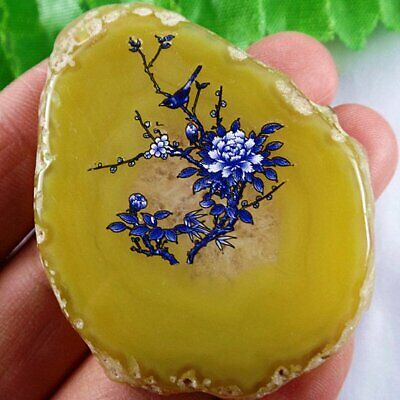D2-2866 Freeform Section Yellow Onyx Agate Pendant Bead 55436mm