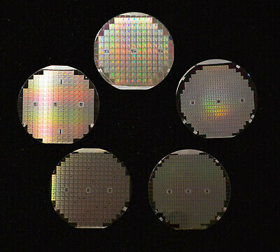 Historic 1970s-1980s silicon wafers - Qty of five 4 wafers includes one DSP