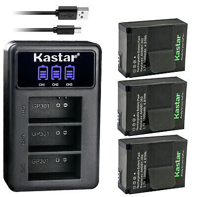 Kastar AHDBT-302 301 Battery 3-Pack - LCD Triple Charger for GoPro HERO3 HERO3-