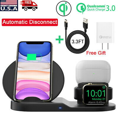 3in1 QI Wireless Charger Charging Station Dock For Apple Watch PhoneAirpod Pro