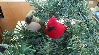 Cardinal Male and Female small imitation feathered birds Christmas decoration