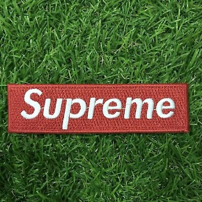 Supreme Red - White Box Logo Embroidered Patch Appliqué Sew Iron On New from USA