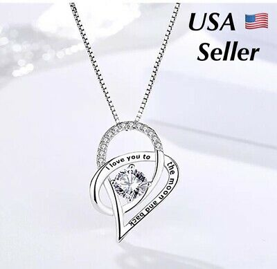 Mother's Day Gift I Love You To The Moon and Back Mom Heart 925 Silver Necklace