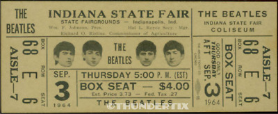 1  BEATLES VINTAGE UNUSED FULL CONCERT TICKET 1964  Indiana st- fair   laminated