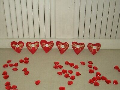 VALENTINES DAY HEARTS FABRIC BOWL FILLERS SET OF 6