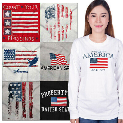 Long Sleeved USA Graphic T For Mens Womens Tees Shirt 4th Of July Gift Tshirts