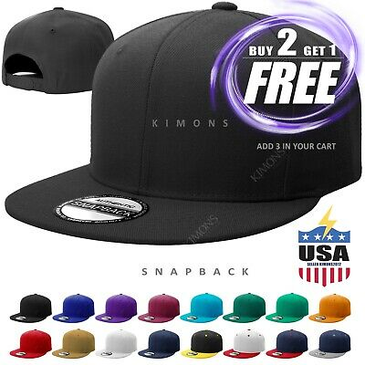 Snapback Hat Flat Baseball Cap Trucker Solid Plain Blank Men Hip Hop Adjustable