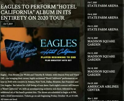 THE EAGLES 031720 AA Center Dallas Tx- 2 tickets Sect- 310 Row N Seats 1-2