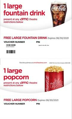 AMC Large Popcorn - Large Fountain Drink exp 1220 Instant Delivery Email 24hrs
