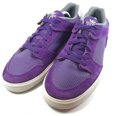 SUPRA Mens Skate Shoes Purple White Lace Up Low Top Sneakers US 10-5