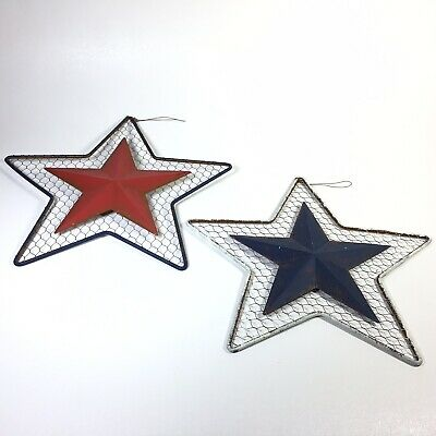 Rustic 4th Fourth Of July Decor Metal Wire Stars Red White Blue Wall Hangings
