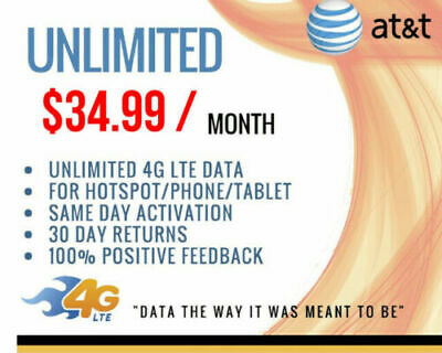 AT-T Unlimited 4G LTE Data Plan 34-99 Hotspot- GUARANTEED TO WORK 22420