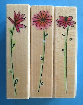 FANCIFUL POSIES Rubber Stamp Set FLOWERS BLOSSOMS Hero Arts