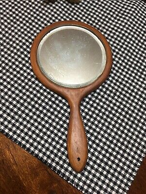 Antique Primitive Old Country Wood Hand Mirror Round