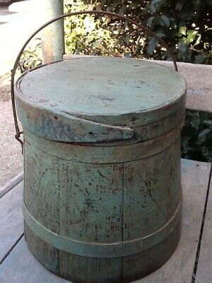 1800s Primitive Tiny Wooden Firkin Bucket Best Original Old Robin Egg Blue Paint
